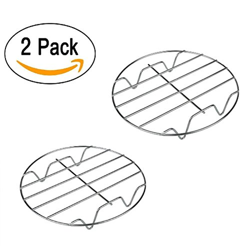 """Bamboo's Grocery 11 7&8 Inch Cooking Round 304 Stainless Steel Baking and Cooling Steaming Rack w Stand Cookware Fit for Air Fryer Instant Pot Pressure Cooker Canning Set of 2, 7"""" 8"""", Sliver"""