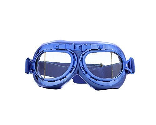 CRG Sports Vintage Aviator Pilot Style Motorcycle Cruiser Scooter Goggle T08 T08LCL - Parent (Blue Clear) by CRG Sports
