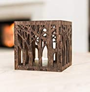 Wooden Candle Lantern 4.3x4.3x4.3 inches - Wooden Candle Holder - Rustic Candle Holder - Brown Lasercut Candle