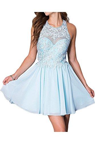 Damen Kurz Blau Ballkleid Cocktailkleid Brautjungfernkleider Chiffon Spitze Elegant Abendkleider Beyonddress TdxZznFqd