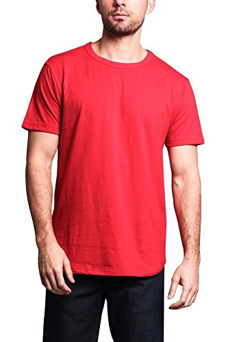 Victorious Solid Color Long Length Curved Hem T-Shirt TS270 - RED - X-Large - - Red Upgrade T-shirt