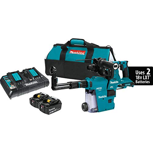 """Makita XRH10PTW 18V x2 LXT (36V) Brushless Cordless 1-1/8"""" AVT Rotary Hammer Kit, Accepts Sds-Plus Bits w/Extractor, Aft, AWS Capable (5.0Ah)"""