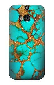 E2688 Aqua Copper Turquoise Gemstone Graphic Printed Funda Carcasa Case para HTC ONE M8
