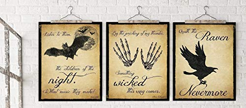 The Raven, Dracula and Macbeth Literary Quote Set. Edgar Allan Poe, William Shakespeare and Bram Stoker. Vintage Style Fine Art Paper, Laminated, or Framed. Multiple Sizes - Print Halloween Decorations