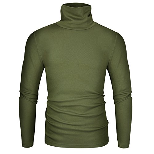 - Derminpro Men's Thermal Turtleneck Soft Long Sleeve T-Shirt Army Medium