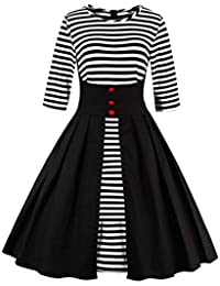 Womens Stripes Vintage Retro 1950s Style Swing Cocktail Dress