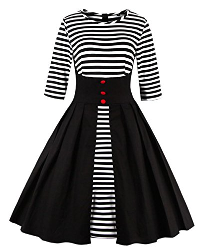 Wellwits Women's Stripes Pin Up Vintage 1950s Swing Cocktail Dress Black 5XL -