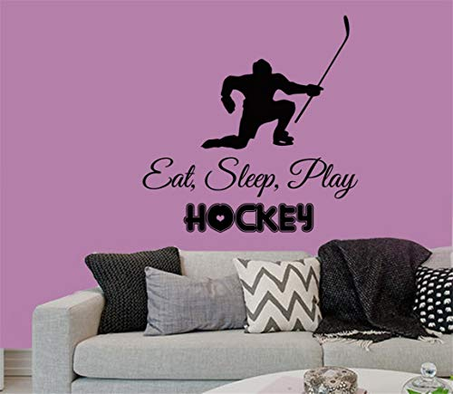 Wall Decal Sticker Art Mural Home Decor Quote Hockey Player Sport Words Eat Sleep Play Hockey Boy Room Decor Gym Kids Nursery Baby Muraux