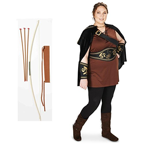 [The Huntress Adult Plus Costume 2X Bow and Arrow Bundle Set] (The Huntress Arrow Costume)