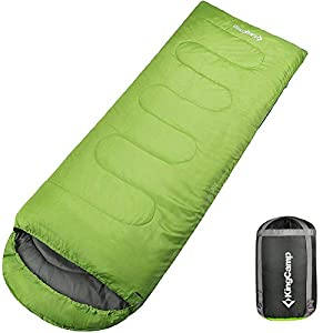 KingCamp Envelope Sleeping Bag 4 Season Lightweight Comfort with Compression Sack Camping Backpack 8.6F/-13C