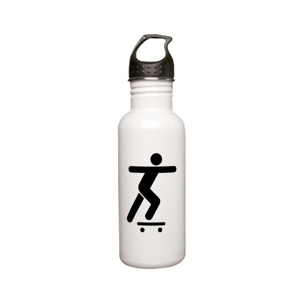 Stainless Water Bottle 0.6L Skateboard Skater Traffic Symbol by Truly Teague