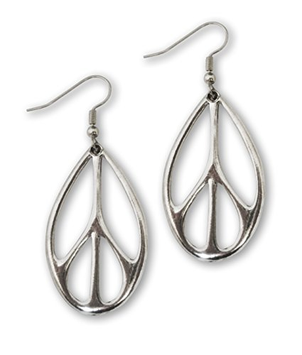 Oval Peace Sign Dangle Earrings Silver Finish Pewter (Peace Costumes)