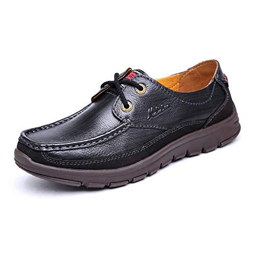 Principales Con Negro Hombres Cómodos Los Ocasionales Cuero Redondos Negro 44 Zapatos Hombres Al Aire Cordones color Mocasines De Libre Para Tamaño 6xfWwTP