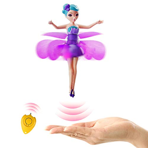 (Magic and Best Gift for 6 Year Old Girl Toy -RC Kids Flying Fairy LED Doll Infrared Induction and Remote Control Helicopter Toys Birthday)