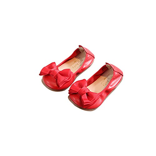 olding Shoes Ballet Flats Soft Driving Flats Casual Loafers(Red 34/2.5 M US Boys Girls) ()