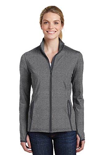 Sport-Tek Women's Sport-Wick Stretch Contrast Full-Zip Jacket LST853 Charcoal Grey Heather/Charcoal Grey XL