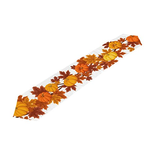 U LIFE Happy Autumn Fall Halloween Thanksgiving Day Maple Leaves Pumpkin Pumpkins Table Runner -