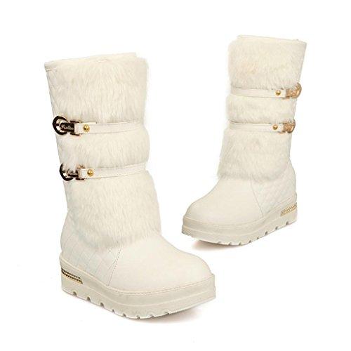 White Étouffé Grande avec Tube aux Taille Bottes Manche de Le Chaussures de Boucle Femmes Ceinture dans Bottes Neige ApW4Fwqx4f