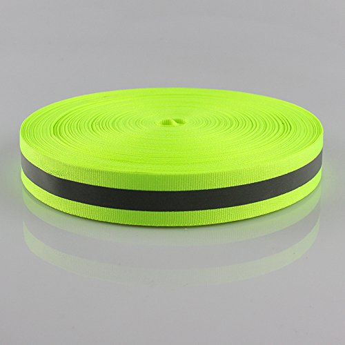 Green Silver Reflective Fabric Strip Trim Sew On For Clothing 1'' x 150ft by JINBING