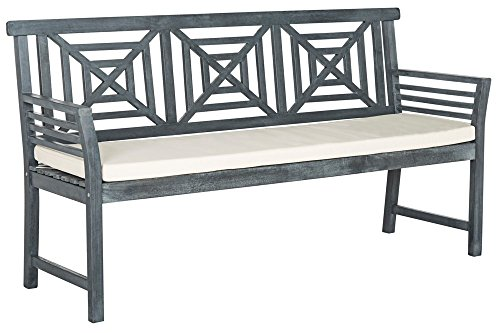 Safavieh PAT6737B Outdoor Collection Del Mar 3 Seat Bench, Ash (Ash Upholstered Table)