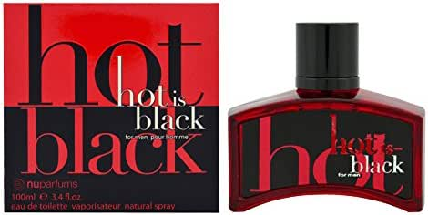 Nu Parfums Hot is Black Eau de Toilette Spray for Men, 3.4 Ounce