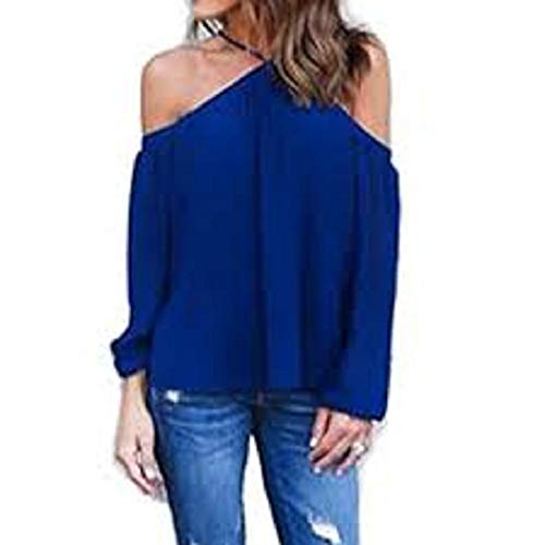 (Hotouch Women Off Shoulder Halter Neck Blouses Long Sleeve Solid Color Tee Tops (Dark Blue XL))