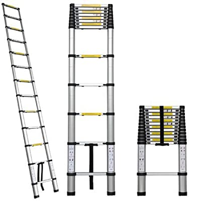 12.5 ft Aluminum Extension Telescoping Ladder, Supports up to 330 lbs