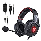 ONIKUMA Gaming Headset - Stereo K8 Gaming Headset for PS4 Xbox One, Noise Cancelling Mic Over Ears Gaming Headphones with Microphone for Nintendo Switch Playstation 4 Laptop Smartphones and PC (Red)