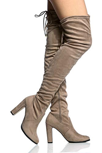 The Faux Long High Womens Boots Heel Knee Thigh Back Over Tie Block Taupe Extra Suede fgnnqtx
