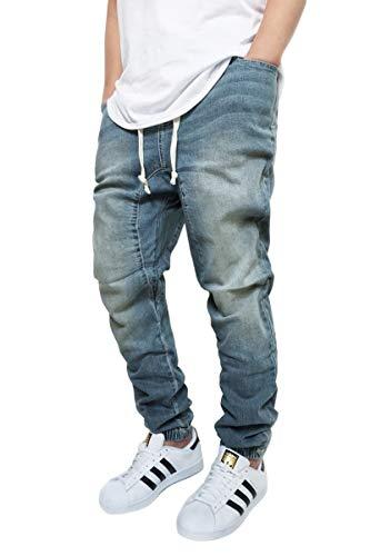 URBANJ Men's Stretch Twill Drop Crotch Jogger Pants S-5XL (3XL(40), Vintage Denim)