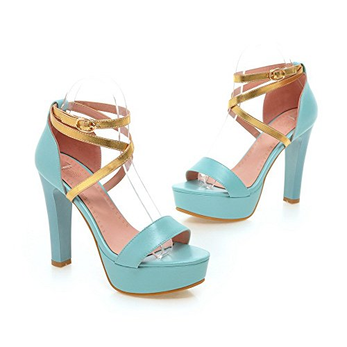 AgooLar Women's Buckle Open Toe High Heels Pu Assorted Color Sandals Blue VsfTHqIp