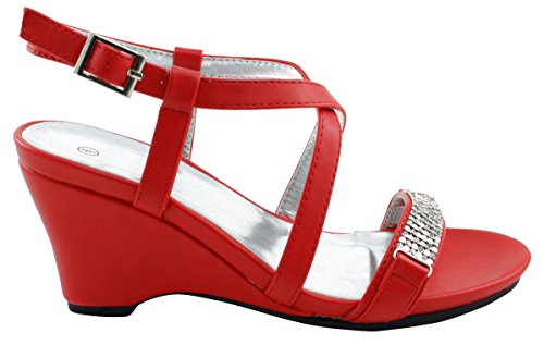 Red Rhinestone Select Toe Open Womens Wedge Platform Sandal Crystal Cambridge Crisscross Strappy Dress 1qX7nE