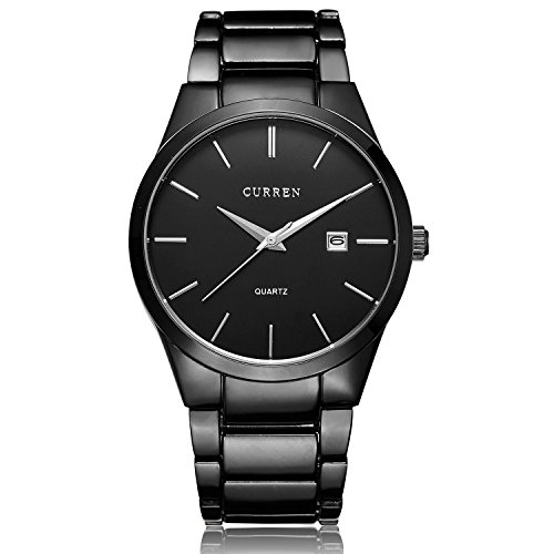 All Black Steel Band Watches for Men Classic Stainless Steel Watch Casual Business Quartz Analog Wrist Watch with Calendar