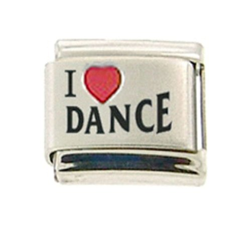 DANCE I LOVE DANCE RH Laser Italian Charm 9mm - 1 x MD025 Single Bracelet Link