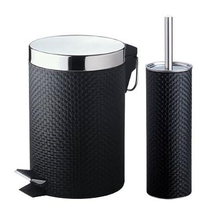 2 Pcs PVC Black Toilet Brush Holder 3L Step Pedal Waste Bin Set Bathroom  Accessories