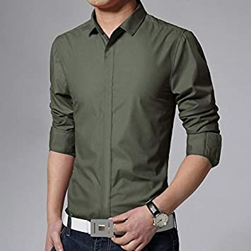 IYFBXl Camisa Delgada de algodón Work Business para Hombre - Cuello clásico básico de Color Liso/Manga Larga, Verde Militar, XXL: Amazon.es: Deportes y aire libre