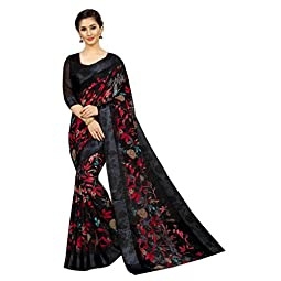 PERFECTBLUE Women's Digital Blend Linen Saree with Unstitched Blouse Piece (DiGiDark)
