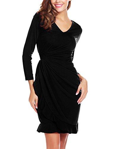 Angvns Manches Longues Femmes V Cou Ébouriffer Robe De Soirée Cocktail Taille Haute Noir