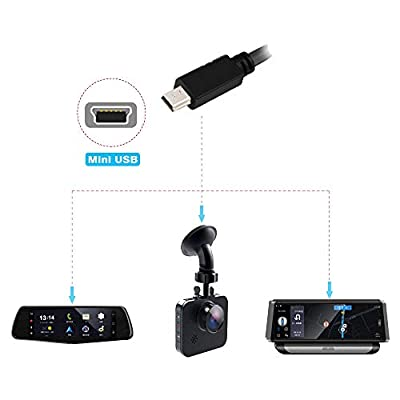 Dash Cam Hardwire Kit, Upgrade Mini USB Hard Wire Charger Power Cord Kit with 4 Fuse Tap Cables for Dash Camera, Car DVR, GPS Navigator, Radar Detectors and More: Car Electronics
