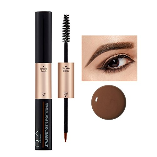 DLA Ultra Perfection Eyebrow Tinted Gel 5g (#01 Black Brown) - Long Lasting Dual Brushed Eyebrow Gel for Waterproof & Smudgeproof Makeup, Sweat Resistant, Transfer Proof, Enhanced up to 48 Hours