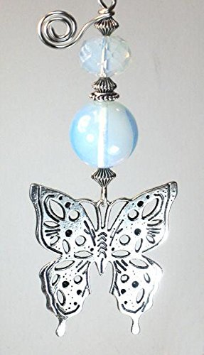 Fan Ceiling Butterfly Pull (Beautiful Silver Butterfly & Opal Faceted Glass Ceiling Fan Pull Chain)