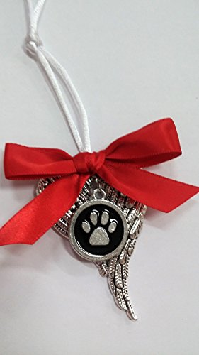 Pet 3 Charms (Pet Memorial Angel Wings Ornament w/ Pawprint Charm in Memory Sympathy Gift)