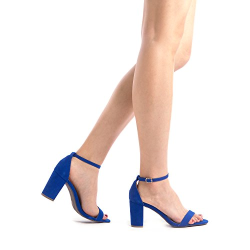 Chunky Toe Evening Low PAIRS CHUNK Dress Pumps Strap Women's Heel Wedding Sandals Open DREAM Royal Stiletto Blue Ankle wqXzYxtAq