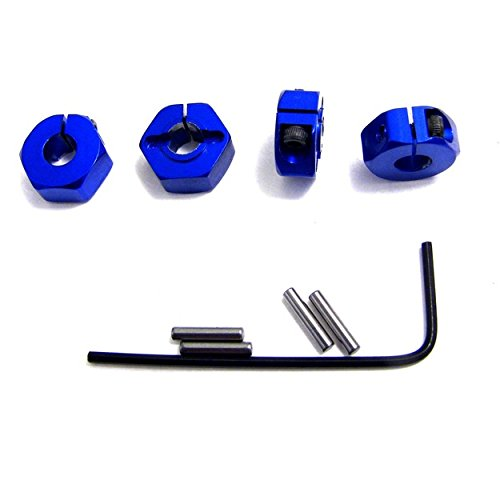 Hot Racing SLF1006 Blue Aluminum Locking 12mm Wheel Hex Kit, Blue