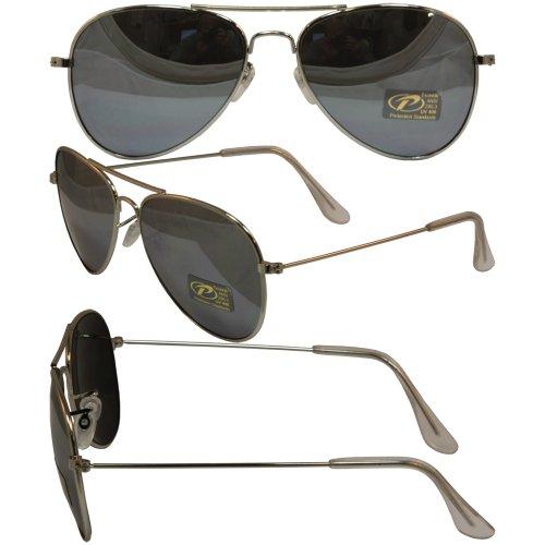 Aviator Sunglasses Pacific Coast (Classic Aviator Silver Frame Sunglasses Smoke Lens)