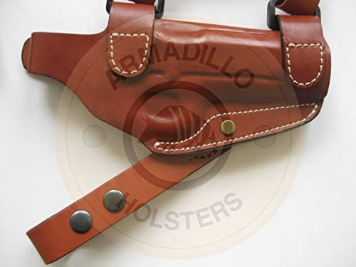 Armadillo Tan Leather Horizontal Miami Vice Shoulder Holster for 1911 w//rail P2