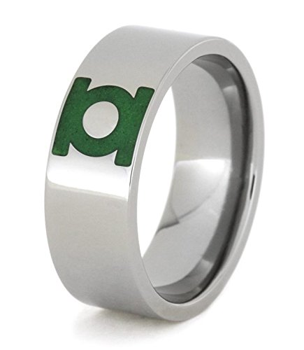 Engraved Green Lantern Insignia Symbol 8mm Comfort-Fit Titanium Ring, Size 8.5 by The Men's Jewelry Store (Unisex Jewelry) (Image #3)