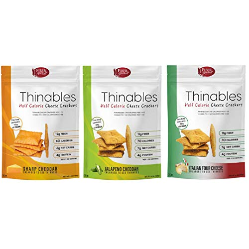 Thinables Baked Cheese Crisps: Cheese, Jalapeno Cheddar and Italian Four Cheese Variety pack, Low Net Carb, High Protein Crackers, High Fiber, Low Calorie, One (1) 6-ounce package of 3 flavor ()
