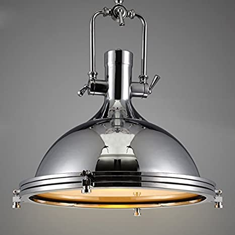 Industrial Nautical Style Single Pendant Light Litfad 15 75 Wide Pendant Lamp With Frosted Diffuser Mounted Fixture Chandelier In Chrome Amazon Com