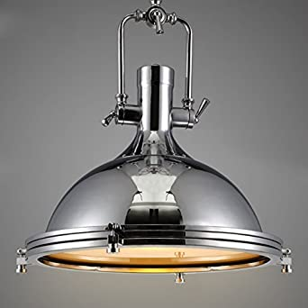 industrial nautical style single pendant light litfad wide pendant lamp with frosted diffuser - Nautical Chandelier